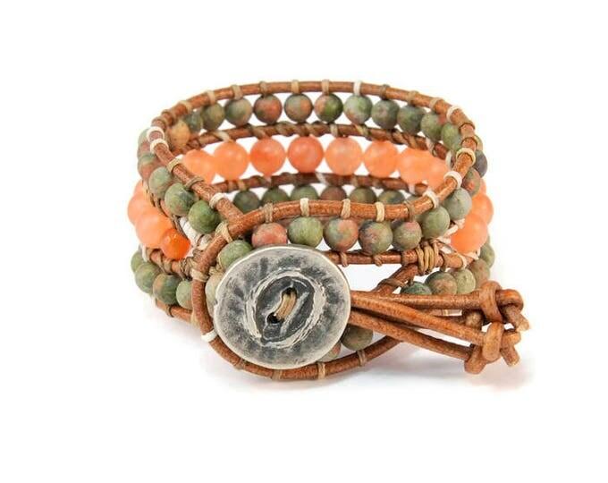 Boho Armonia * Unakitis & Jade. 3 strand Wrap Bracelet. Boho Style. Bohemian Jewelry. Semiprecious stones. Gift for her. Cuff Bracelet.