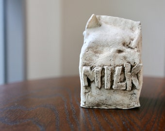 rustic ceramic milk carton
