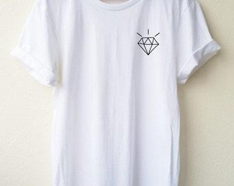 Diamond embroidery tshirt fashion tshirt Minimal Tee unisex t-shirt size S to XL