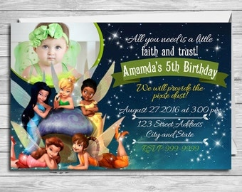 TInkerbell invitation for Tinkerbell birthday party, Tinkerbell invitation, Tinker Bell invitations, Tinker Bell Thank you card | MTI_1