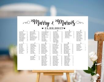 SALE 50% off, RUSH SERVICE, Wedding seating chart alphabetical, Printable Wedding Seating, Seating Chart, Wedding decorations | W5SE