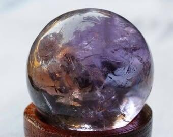 Amethyst Sphere, Ametrine Sphere, Deep Purple Crystal with Citrine Inside + Stand