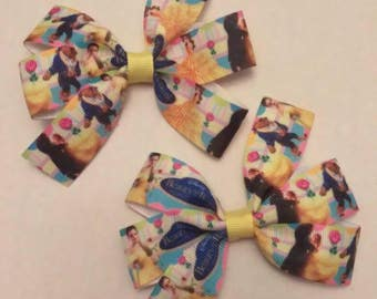 Beauty and the Beast hair bow, Character inspired hair bow, Princess hair bow, pigtail set, fairy tale hairbow