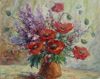 IMPRESSIONIST Still life POPPIES Flowers OIL painting Ukraine original art