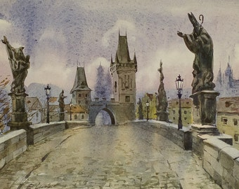 Real original watercolor Prague Charles bridge cityscape winter gift ideas