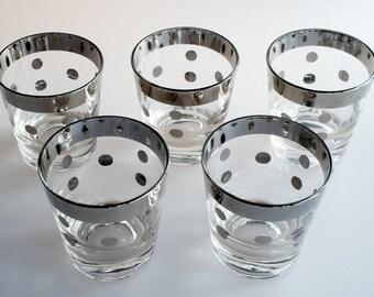 Vintage Polka Dot Rocks Glasses, Dorothy Thorpe Style Barware