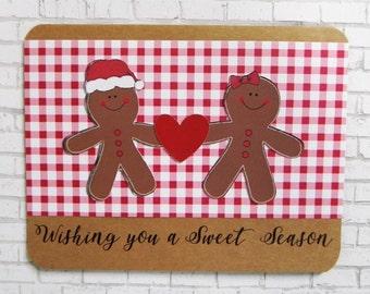 Gingerbread Christmas Card, Christmas Card, Holiday Card, Handmade Christmas Card