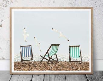 Beach Wall Art, Beach Chairs, Beach Photography, Colorful Art, Seashore Painting, Vintage Beach Art, Beach Home Decor Art, Gift, Beach Print