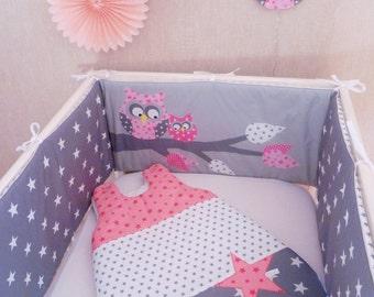 Bumper and sleeping bag grey/pink owls