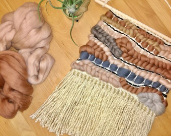 Woven wall hanging | wool roving wall decor | nursery decor