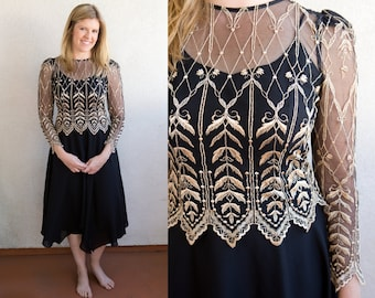 Vintage Women's Long Black White Dress Lace Detailing Coverlet - 80s 90s Small Medium - Floral Embroidary - A-Line Embroidered Long Sleeve