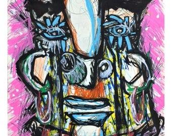 dibujo original pintado a mano, abstracto cara retrato, tecnica mixta sobre papel,cuadro,expresionista,art brut