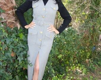 Black and white button through pinafore midi dress