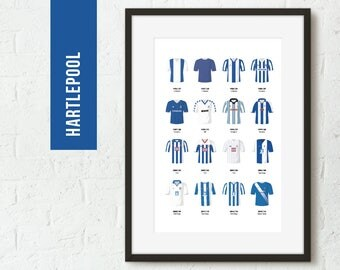 ICONIC Hartlepool Classic Kits Team Print, Football Poster, Football Gift, FREE UK Delivery