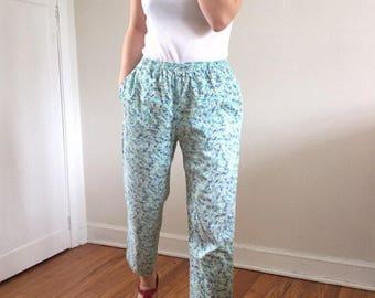 Aqua Floral Cropped Easy Pants w/ High Waist & Pockets