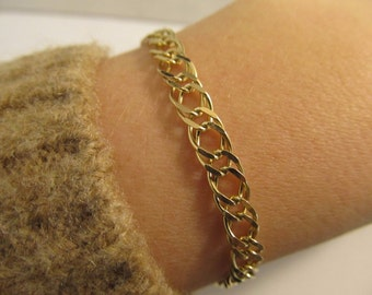 "14k Yellow Gold Link Designer Bracelet - ""Made by Indaerre"" - 7"" Long - #963"