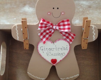 Handmade Wooden Gingerbread Man Message Board Sign.Perfect Gift To Hang All Those Little Notes On Or For Your Little Ones Artwork  From
