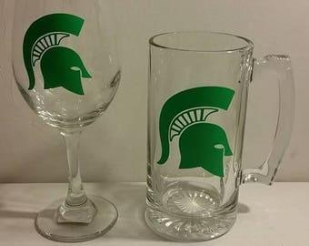 Spartan wine glass and beer mug