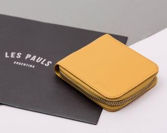 Leather Zip Wallet / Yellow
