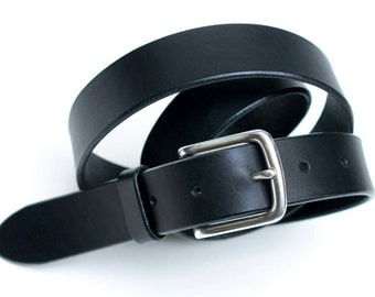 Leather silver belt - buckle - black - 3 cm - length 100