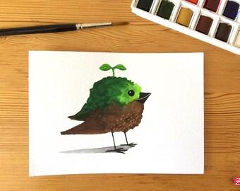 Element bird - Earth - original illustration