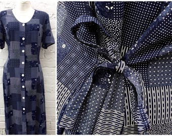 Vintage dress, patchwork print, navy grunge 90's outfit