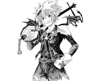 Halloween Town Sora - Kingdom Hearts (Ink Drawing Original)