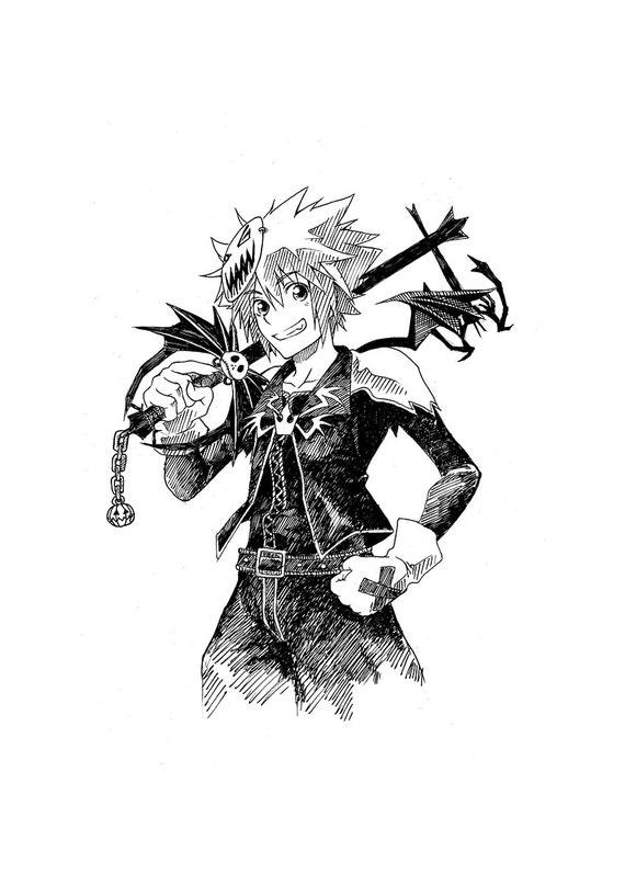 Halloween Town Sora Kingdom Hearts Ink Drawing Original