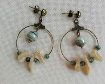 Earrings with bronze rings, mother of Pearl chips, ceramic, aventurine beads