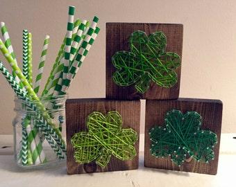 Mini Shamrock String Art, St Patrick's Day String Art, Irish String Art, Shamrock Home Decor