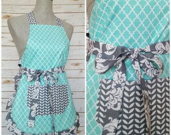 Youth Apron | Girl Apron | Kids Apron | Teal Pattern with Gray Waist Bow Tie and Pocket | Gifts for Daughter
