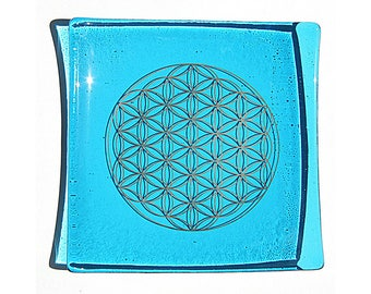 Turquoise blue glass plate with platinum Flower of Life