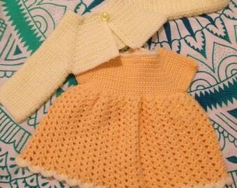 Dress and Bolero Set Crochet 0-3 months