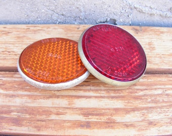 Vintage bike reflectors, Set of 2 Bicycle Reflectors, Old Soviet reflectors, Red orange reflectors, Vintage accessories for bicycle, USSR