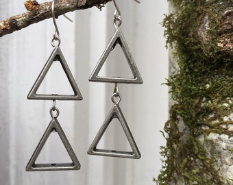 Minimalist Geometric Triangle Earrings Silver Colored