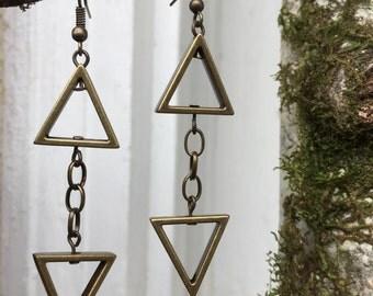 Minimalist Geometric Triangle Earrings Antique Gold