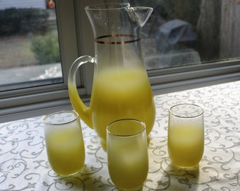 Yellow Blendo Pitcher & Glasses - Mid-Century Marvelous!