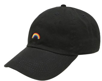 Capsule Design Rainbow Cotton Baseball Dad Cap Black