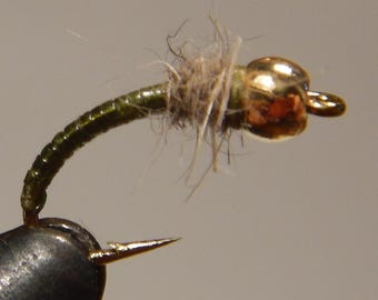 Three (3) Caddis Pupa Nymph flies, w/ tungsten weight, size 16-18, for fly fishing