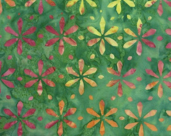 CLEARANCE - Timeless Treasures - Tonga Neon - Green Apple Set Flower Stamp Batik (B4880)