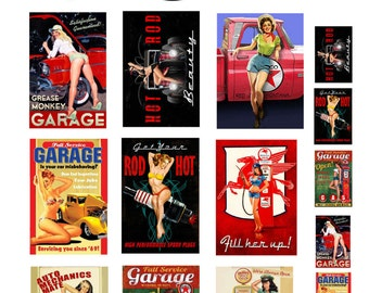1:25 G scale model garage auto shop pin up posters sign