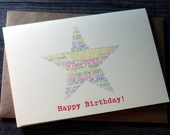 Personalised Twinkle Twinkle word art star birthday card - star card - word art – personalised children's birthday card – cards for children