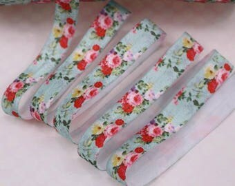 Blue with Pink Roses - FOE Fold Over Elastic 16mm per Yard - 005