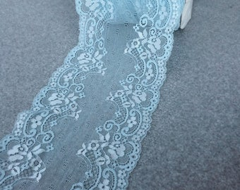 17cm Light Blue Flower Design Stretch Lace - per Yard