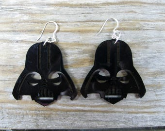 Star Wars Darth Vader 3mm Black Acrylic Earrings Approx 50mm