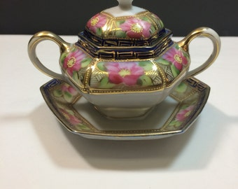 Nippon beautifully decorated, detailed lidded sugar bowl. Antique condition.