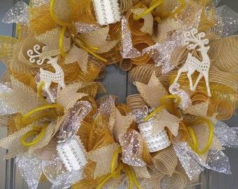 Present Wreath, Christmas Wreath, Round Wreath, Gold Wreath, 24 inch Wreath