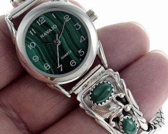 Ladies Watch Bracelet Navajo Handmade Malachite