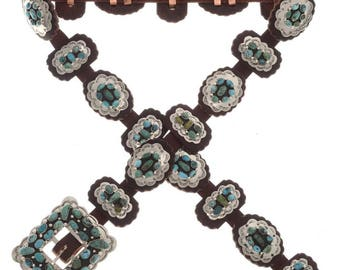 Native American Concho Belt Handmade Nevada Turquoise