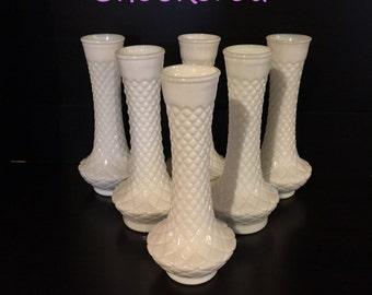 Tall Milk Glass Bud Vases